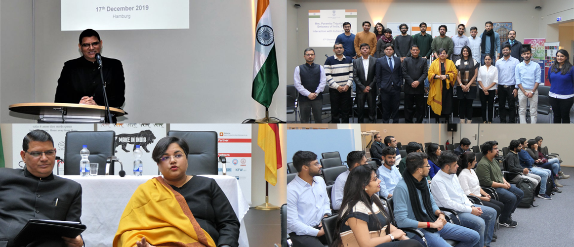 DCM Smt. Paramita Tripathi and Consul General Shri Madan-Lal Raigar interacted with the Indian students studying in Hamburg (December 17, 2019)