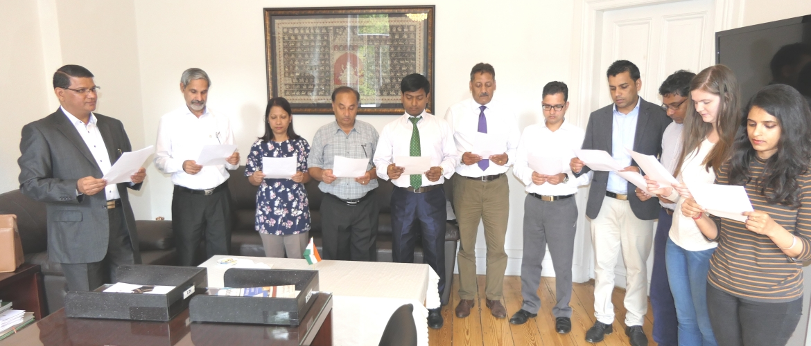 CG administered the 'Sadbhavana Pledge' to all India based officials and local staff members on August 20, 2018